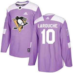 Men's Pittsburgh Penguins Pierre Larouche Adidas Authentic Fights Cancer Practice Jersey - Purple