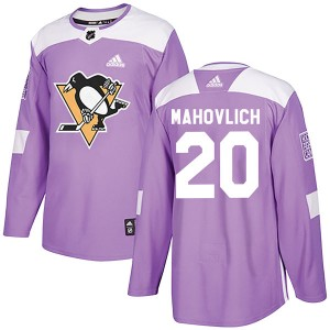 Men's Pittsburgh Penguins Peter Mahovlich Adidas Authentic Fights Cancer Practice Jersey - Purple