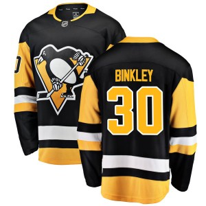 Youth Pittsburgh Penguins Les Binkley Fanatics Branded Breakaway Home Jersey - Black