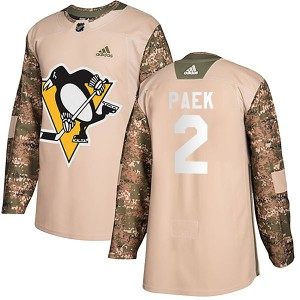 Youth Pittsburgh Penguins Jim Paek Adidas Authentic Veterans Day Practice Jersey - Camo