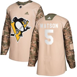 Youth Pittsburgh Penguins Bryan Watson Adidas Authentic Veterans Day Practice Jersey - Camo