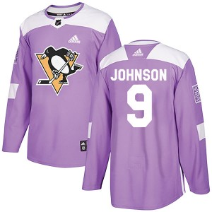 Youth Pittsburgh Penguins Mark Johnson Adidas Authentic Fights Cancer Practice Jersey - Purple
