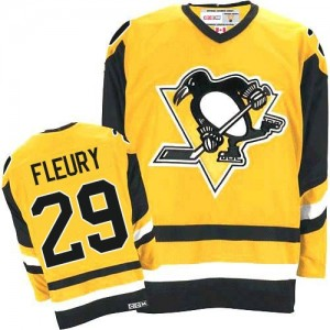 Men's Pittsburgh Penguins Marc-Andre Fleury CCM Authentic Throwback Jersey - Gold